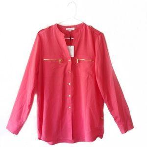 Calvin Klein Pink Button Up Long Sleeve Blouse💕